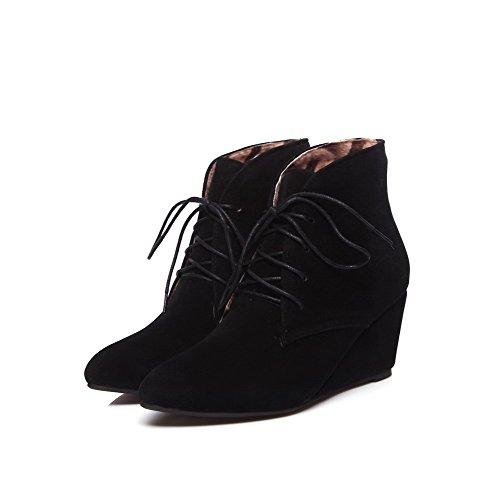 AgooLar Women's Kitten-Heels Velvet?Lining Solid Lace-up Pointed-Toe Boots Black Agsbi4QA