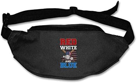赤白と青の愛国心が強い野球ユニセックス屋外ファニーパックバッグベルトバッグスポーツウエストパック