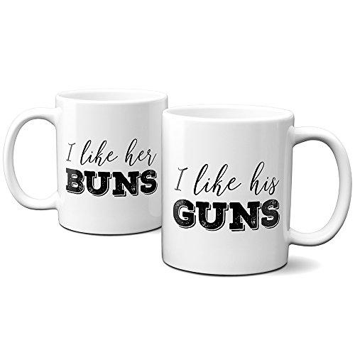 I like her buns, I like his guns - (2) 11oz coffee cups - funny couples mug set - gift for wife, husband, girlfriend, boyfriend - engagement present - housewarming gift - microwave and dishwasher safe