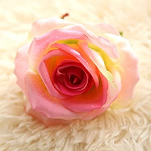 "Artificial Fake Flowers Silk 4"" 2.2"" Big Roses Heads Flower Arrangements Real Touch Flannel Wedding Decorations Floral Table Centerpieces for Home Kitchen Garden Party Décor (10 PCS, Pink) 4"