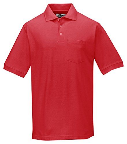 Tri-mountain Mens cotton baby pique pocketed golf shirt. - RED - XLT ()