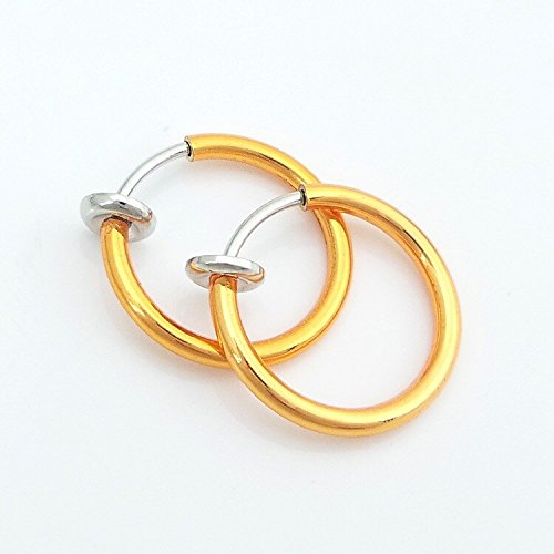 Girl's Little Circle Shape Gold Color Ear Clip Invisible Anti-painful Earrings Body Jewelry Nose Rings