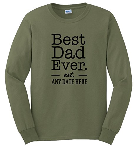 Father Son Gifts to Dad from Son for Dad Personalized Best Dad Ever Est. Custom Date New Dad Long Sleeve T-Shirt XL MlGrn