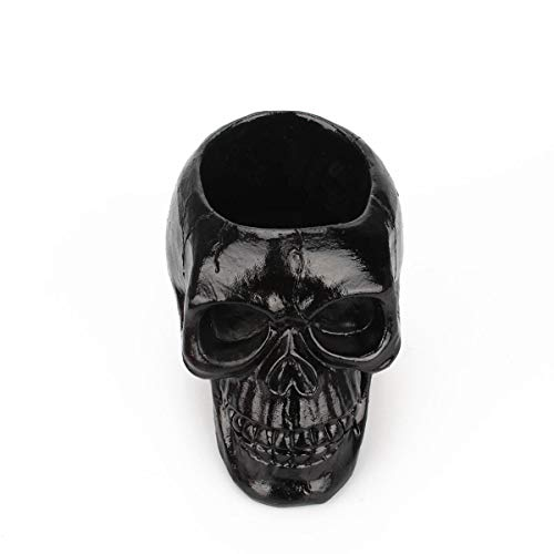 Womdee Skull Pen Holder for Desk Funny Halloween Skeleton Candy Bowl Makeup Brushes Organizer and Accessories,Black ()