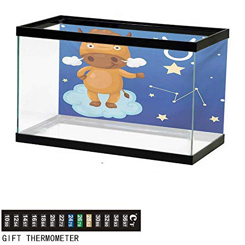 Aquarium Background,Zodiac Taurus,Cartoon Bull Character on Blue Cloud in Sky with Stars Constellation and Sign,Multicolor Fish Tank Backdrop 30