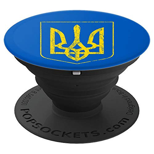 Ukraine Coat of Arms Trident Distressed Symbol Mobile - PopSockets Grip and Stand for Phones and Tablets