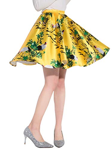 DYS Women's Stretchy Waist A-line Floral Printed Flared Casual Mini Skirt Vintage F-21 L/XL