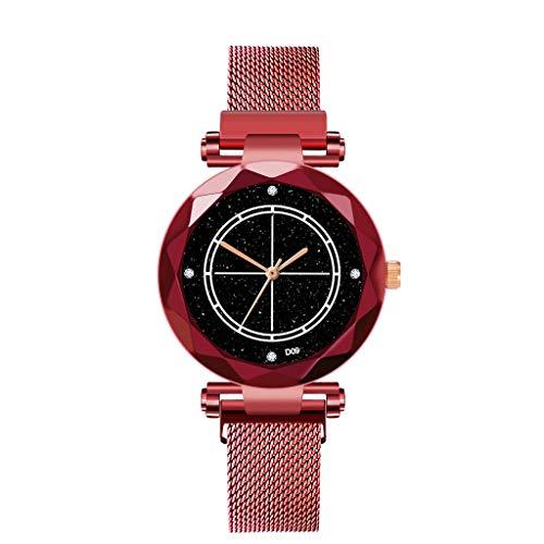 Roumin Ladies Watch Magnetic Star Sky Diamond Female Quartz Watch(Red)
