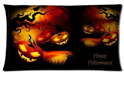Houseware ART Happy Halloween Pumpkin Shining Smile 100% Cotton Pillowcase Standard 16x24 (one side) Pillow Cover -