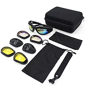 Bernard Bertha Motorcycle Riding Glasses Goggle Kit Padded Glasses Frame with 4 Lens Kit for Outdoor Activity Sport