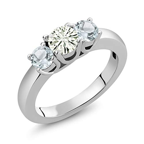925 Sterling Silver 3-Stone Ring Forever Classic (KLM) Round 0.50ct (DEW) Created Moissanite by Charles & Colvard and Aquamarine (Size 8)