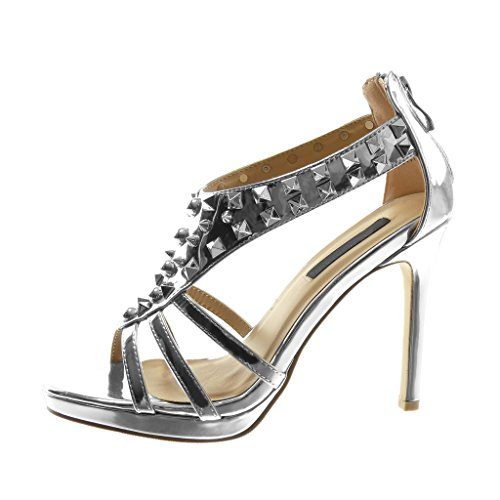Angkorly Damen Schuhe Pumpe Sandalen - Stiletto - T-Spange - Nieten - Besetzt - Patent - Multi-Zaum Stiletto High Heel 10.5 cm Silber