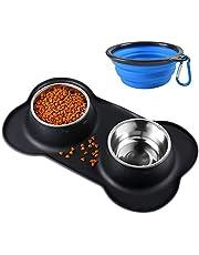 Bonve Pet Gamelle Chat, (400 ML) Gamelle Chien Double INOX Bol en Acier Inoxydable Base Antidérapante Anti-débordement Anti-déversant Tapis en Silicone Petit Cadeau d'une Cuillère Alimentaire