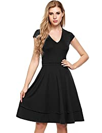 ACEVOG Half Sleeve Elegant High Waist Fit and Flare Pocket V-neck Dressfor Women