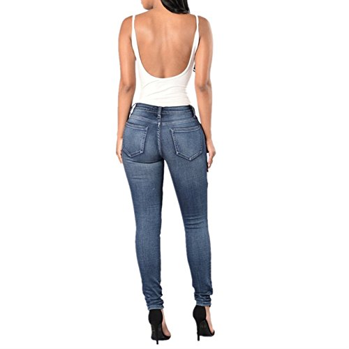 Trousers Fashion Hole Femme Color Size Denim Jeans Plus Blue Blue L Size Jeans Jeans qA6wnTnf