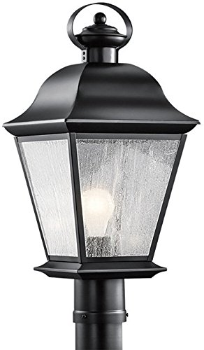 Kichler 9909BK Mount Vernon Outdoor Post Mount 1-Light, Black