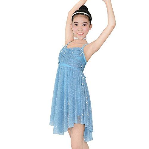 MiDee Lyrical Latin Dress Dance Costume Glitter Camisole Knee-Length Skirt for Girls (MC, Sky Blue) -