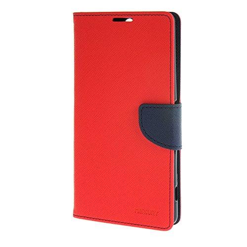 MEIRISHUN Caja del Teléfono Celular Caso Funda para Sony Xperia C5 Ultra,Premium Mix Color PU Cuero Tapa abierta Protector Folio Cover Wallet Case with Magnetic Closure [Negro+Brown] Rojo