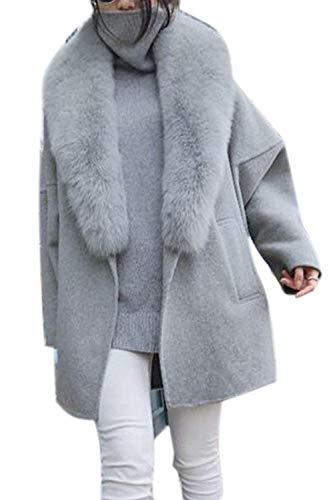 Cuello Outerwear Chaqueta Anchos Elegantes Prendas Mujeres Con Abrigos Termica Lana Hipster Exteriores De Abrigo Grey Manga Casuales Mujer Invierno Larga Battercake Piel OvUqYgO