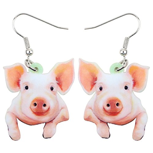 Piggy Earrings - NEWEI Acrylic Drop Dangle Sweet Farm Pig Piggy Earrings Animal Jewelry For Girl Women Charms Gift (white pig)