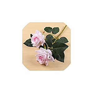Liliy-luckly 2 Heads Velvet Rose Flowers Red Rose Branch Artificial Flowers for Wedding Home Decoration,Light Pink 84