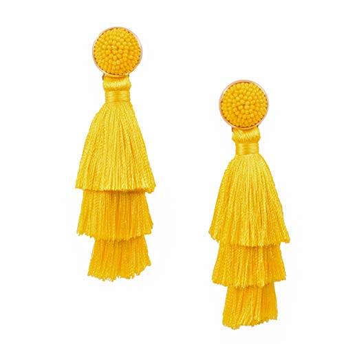 RIVERTREE Womens Layered Tassel Earring Beaded Boho Statement Fringe | Yellow 3 Tiered Long Vintage Chandelier Drop Dangle Earring Yellow