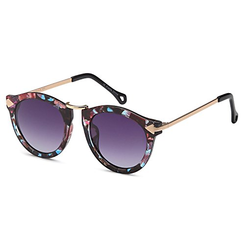 CATWALK UV400 Womens Round Cat Eye Sunglasses with Arrow Design Metal Fashion Frame and Flash Lens Option – Gradient Purple Lens on Floral - Sunglasses Faces Good Look On Round That