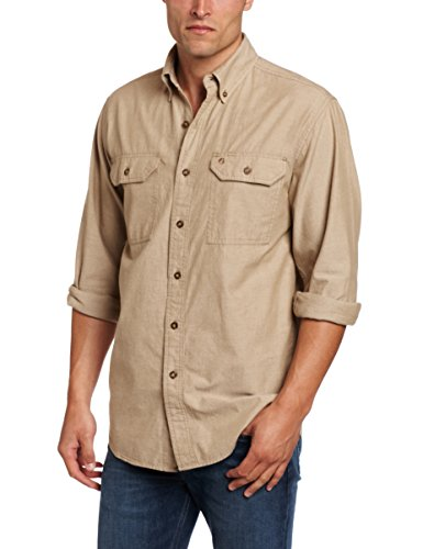 Carhartt Men's Fort Long Sleeve Shirt Lightweight Chambray Button Front Relaxed Fit,Dark Tan Chambray,Medium