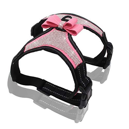 Kuntrona Reflective Dog Harness Nylon Pitbull Pug Small Medium Dogs Harnesses Vest Bling Rhinestone Bowknot Dog Accessories Pet Supplies Pink S