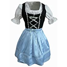 Dirndl World Womens Di03bs, German Bavarian 3 piece Mini Dirndl Dress for Oktoberfest, black blue, Blouse, Apron, Size 20