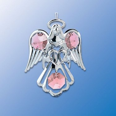 (Purple Swarovski Crystal Silver Guardian Angel Ornament)
