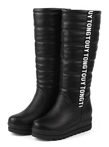 Chfso Kvinners Stilig Brev Print Rund Tå Midten Mansjett Trekk På Midten Hæl Platfrom Boots Black