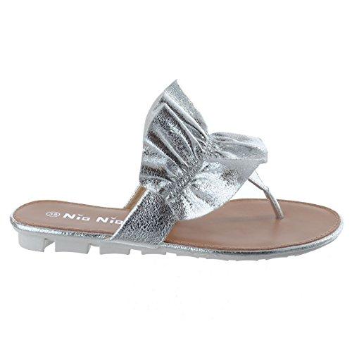NUOVO scarpe INFILARE donna Piatti estive fronzoli numero Argento sandali TANGA DA Infradito da SSq4wrT