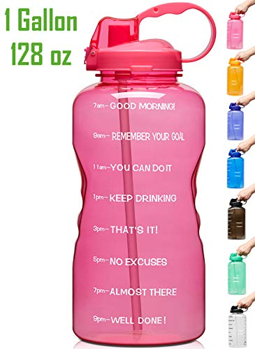 Venture Pal Large 1 Gallon/128 OZ Motivational BPA Free Leakproof Water Bottle with Straw & Time Marker Perfect for Fitness Gym Camping Outdoor Sports-Pink