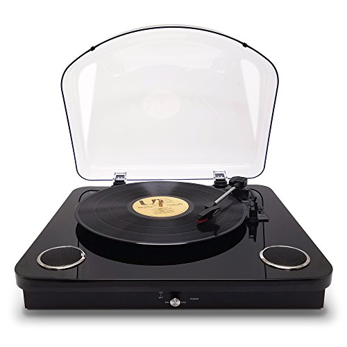 Photive Spin Vinyl Record Player with Built-in Speakers | 3-Speed Stereo USB Turntable Supports Vinyl to MP3 Recording | Bluetooth and RCA Connectivity (Piano Black) by Photive