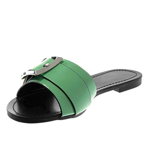 Slip Verniciato Angkorly Mules Verde 1 Fibbia A Tacco Scarpe Donna Cm Blocco Moda Metallico on Sandali 5 HrzwFxIqr