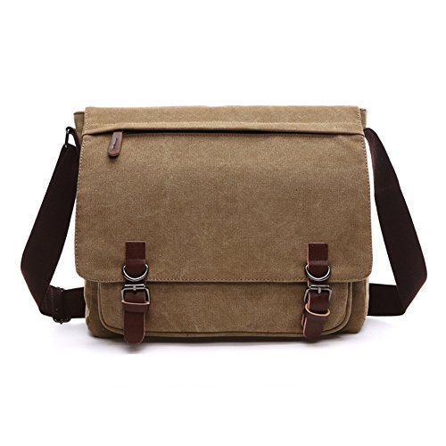 Khaki Messenger Bags (Sechunk Canvas Leather Messenger Bag Shoulder bag Cross body bag Crossbody small for men boy girl student school (khaki, small))