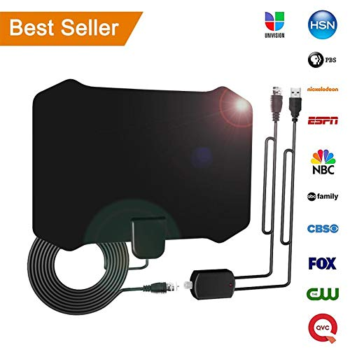 【Newest 2019】 HD Digital Amplified TV Antenna Professional Carbon Fibre 120+Miles with Amplifier Signal Booster for 1080P 4K Free TV Channels,Indoor HD Antenna Freeview Life Local Channels All Typ