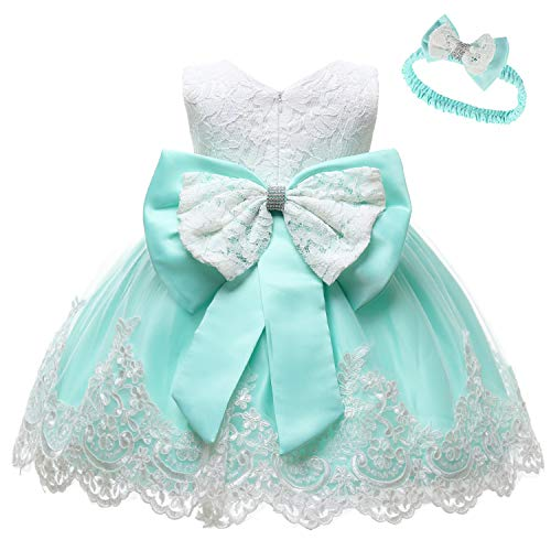 LZH Baby Girls Party Dress Princess Flowers Wedding Dresses Toddler Pageant Tulle Tutus Light Green (Dress Pageant)