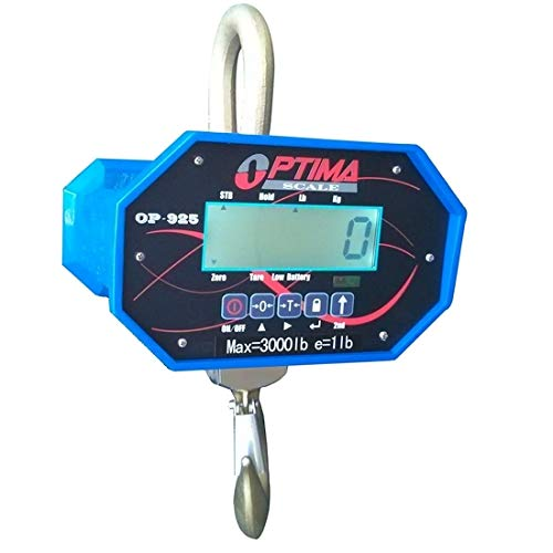 Optima Scale OP-925-6000 Digital Heavy Duty Industrial Hanging LCD Crane Scale With Remote Control, 6,000 LBS x 2 LBS NEW ()
