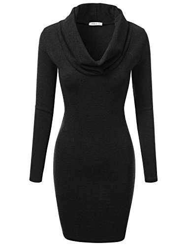 J.TOMSON Women's Basic Slim Fit Cowl Neck Long Sleeve Knit Dress BLACK S