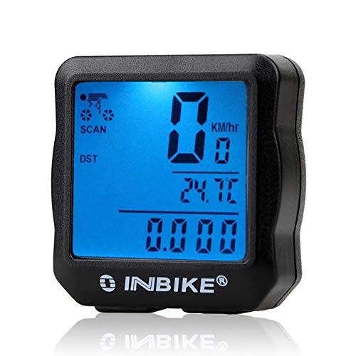 Printong Contachilometri Bicicletta cablata INBIKE Retroilluminazione Impermeabile LCD Digital Cycling Bike Computer Tachimetro Suit per la Maggior Parte delle Moto