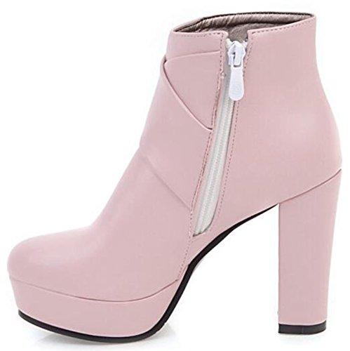IDIFU Womens Trendy High Chunky Heels Platform Ankle Boots Side Zipper Motor Booties Pink KKwiE4n76g