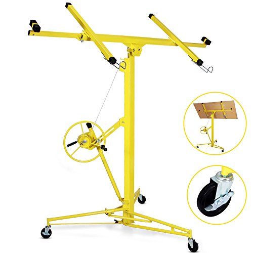 Idealchoiceproduct 16' Drywall Lift Rolling Panel Hoist Jack Lifter Construction Caster Wheels Lockable Tool Yellow by Idealchoiceproduct