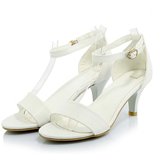 White Buckle Heel Women Ankle TAOFFEN Strap Basic Sandals Kitten wp6ZU8xtq