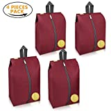 Travel Shoes Bags 4 Pieces Pack – Cheaper Best - Waterproof Durable Versatile Organizers Sleeves Tough Zipper with Fluorescent Mesh Reinforced See-Through Window (Burgundy)