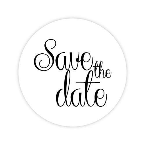 126-1'' Save The Date Stickers, Save The Date Envelope Seals (#151-WT) by Orange Umbrella Co