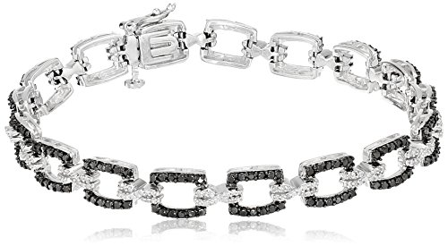 Sterling Silver Black and White Diamond Bracelet (1 cttw), 7.25
