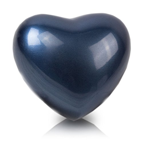 Bronze Keepsake - Heart Bronze Memorial Funeral Keepsake Urn - Extra Small - Holds Up To 3 Cubic Inches of Ashes - Trinity Blue Cremation Keepsake Urn for Ashes - Engraving Sold Separately