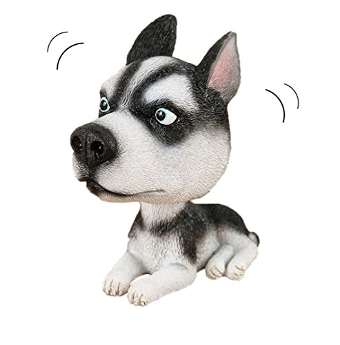 Dog Husky Figurine Siberian (OZUKO Siberian Husky Dog Bobbing Head Nodding Dog Ornaments Mini Bobble-Head Toys for Car Decoration)